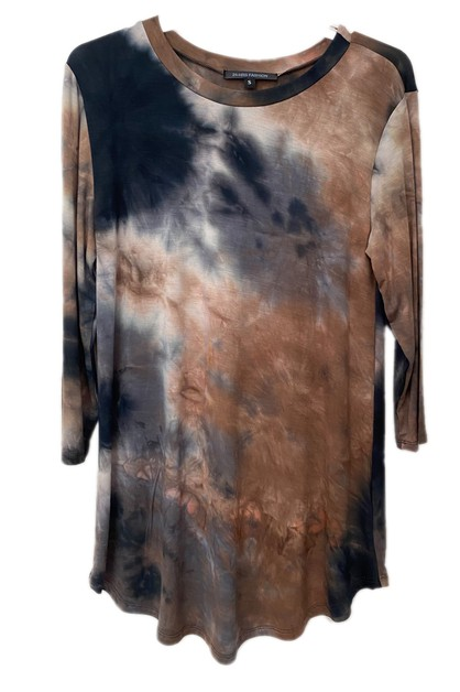 Tie Dye Rayon Quarter Sleeve Top  - orangeshine.com