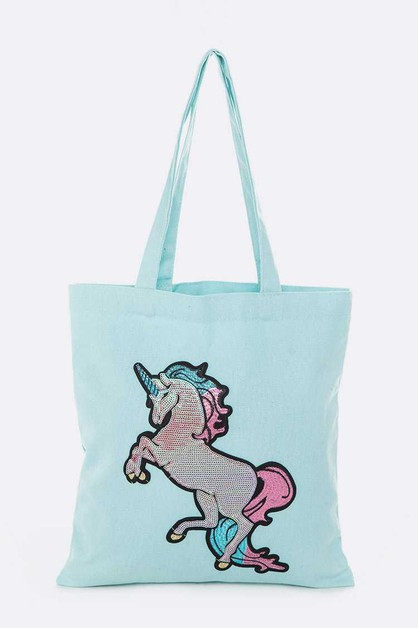 Sequins Unicorn Linen Tote - orangeshine.com