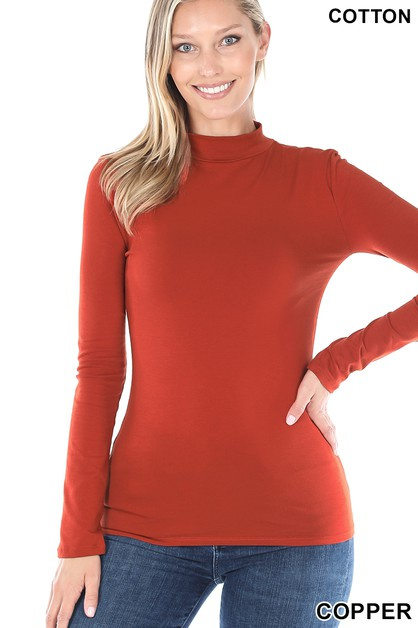 COTTON LONG SLEEVE MOCK NECK TOP - orangeshine.com