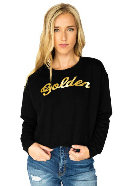 Golden Graphic Long Sleeve Crewneck  - orangeshine.com