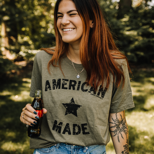 AMERICAN MADE OLIVE GRAPHIC TEE - orangeshine.com