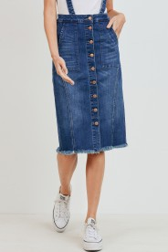 Overall denim midi skirt - orangeshine.com