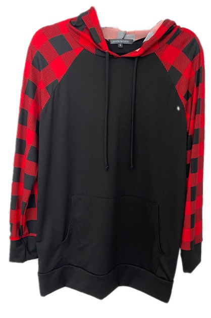 Plaid Pocket Hoodie French Terry  - orangeshine.com