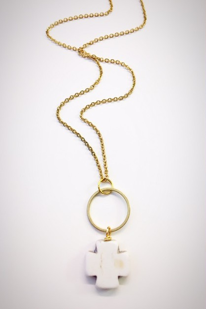 Hoop cross Necklace - orangeshine.com