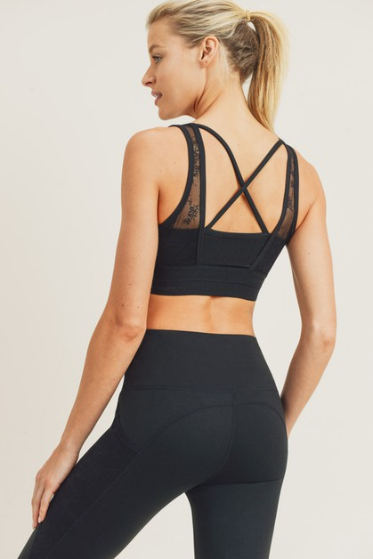 Floral Lace Mesh X-Back Sports Bra - orangeshine.com