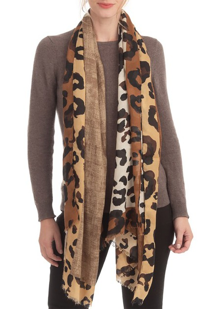 SOLID AND LEOPARD PATTERN SCARF - orangeshine.com