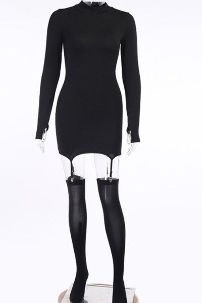 long-sleeved buckle dress - orangeshine.com