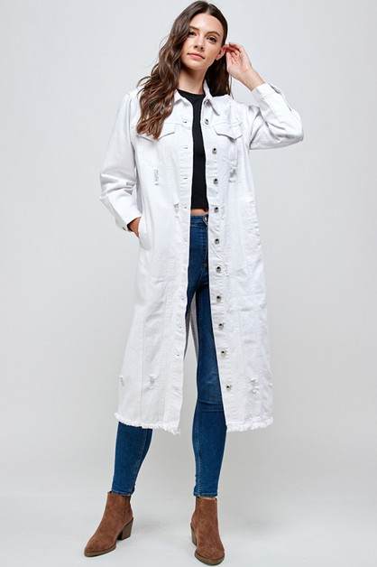 WHITE DENIM FULL LONG JACKET - orangeshine.com