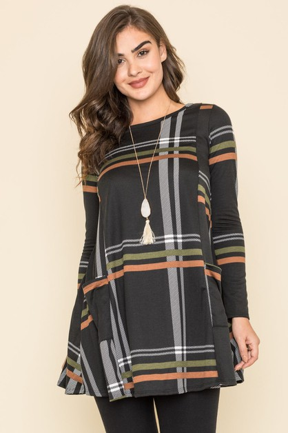 Plaid A Line Dress With Pockets - orangeshine.com