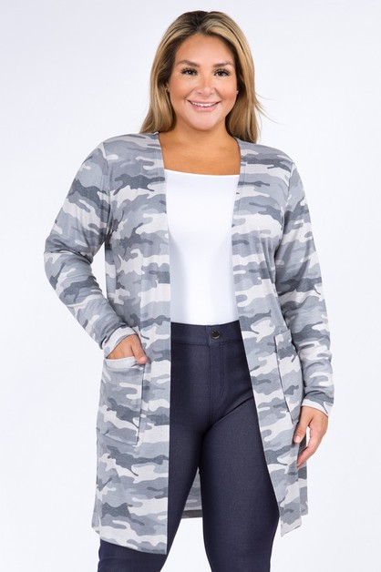 Camouflage Duster Cardigan with Pock - orangeshine.com