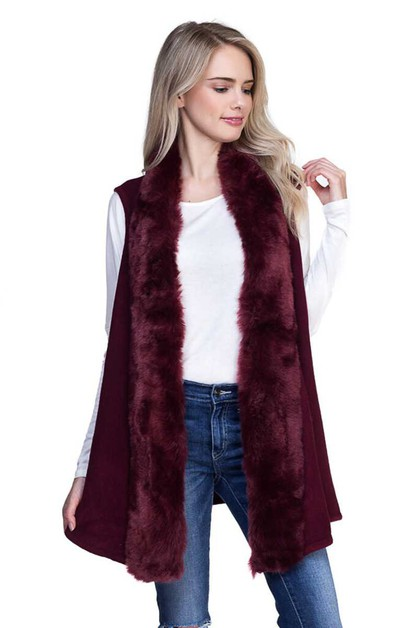FLUFFY FUR TRIMMED VEST - orangeshine.com