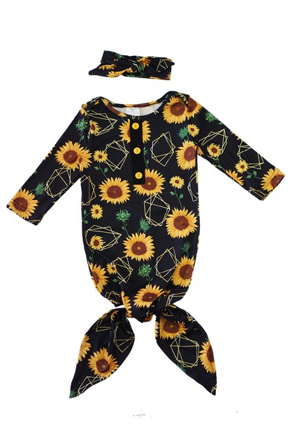 Sunflower tie baby gown - orangeshine.com