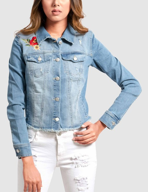 Womens Denim Jacket with Embroidery - orangeshine.com
