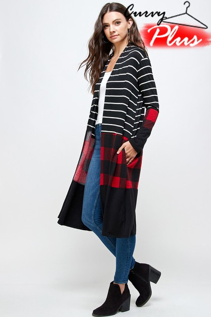 PLAID N STRIPE COLOR BLOCK CARDIGAN - orangeshine.com