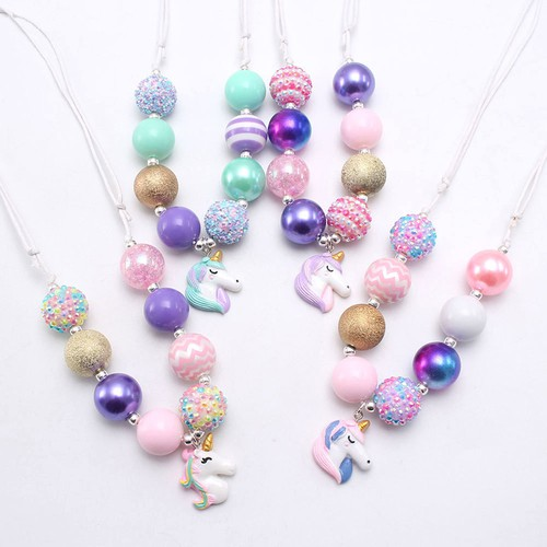 Girls unicorn bubblegum necklace 5pk - orangeshine.com