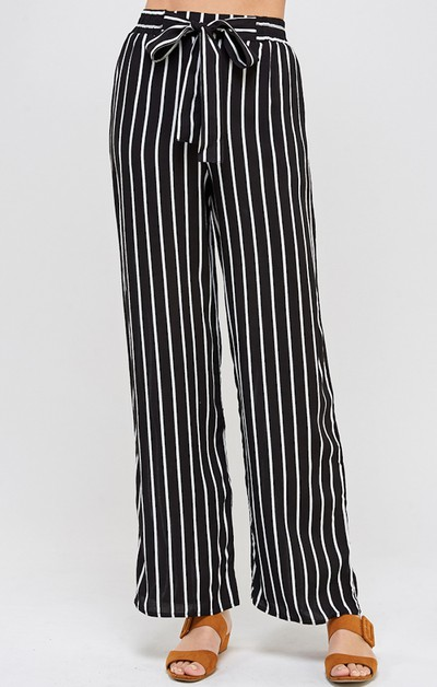 Wide Leg Stripe Pants - orangeshine.com