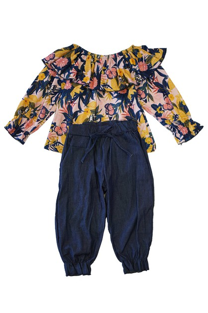 Blue yellow floral ruffle set - orangeshine.com