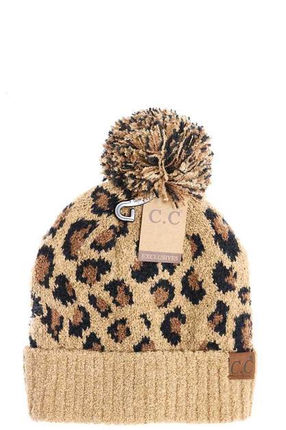 CC LEOPARD KNIT BEANIE WITH KNIT POM - orangeshine.com