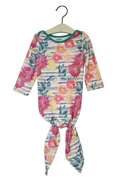 Floral tie bottom baby gown - orangeshine.com