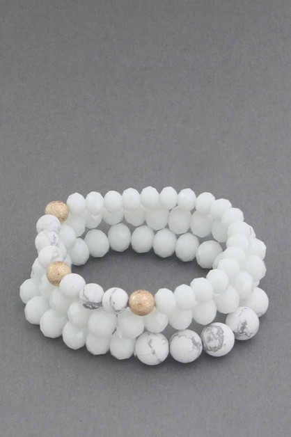 3 PCS SET STONE  STRETCH BRACELET - orangeshine.com