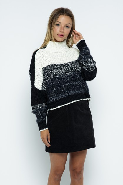 Heavyweight Ribbed Knit Sweater - orangeshine.com