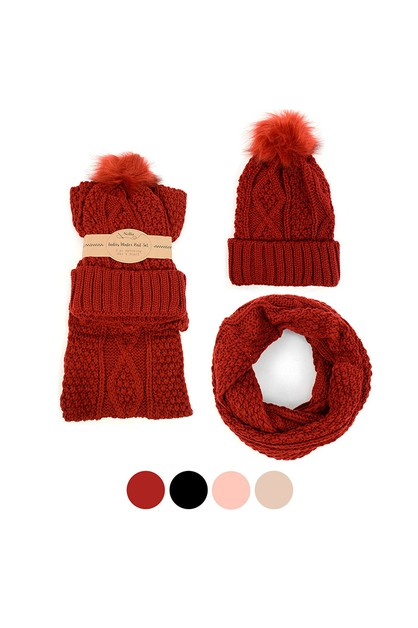 Women 2pc Knit Hat  Scarf Set - orangeshine.com