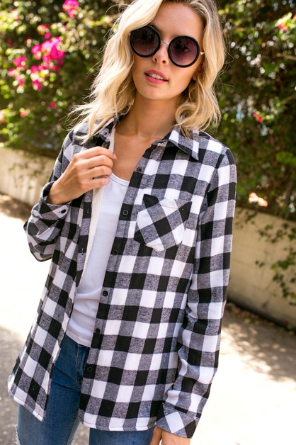 PLAID FLEECE LINED FLANNEL SHIRT TOP - orangeshine.com