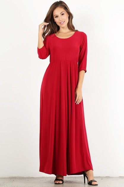 Solid maxi dress in a relaxed fit - orangeshine.com