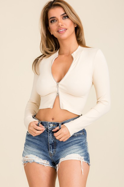 Double Zip Ribbed Long Sleeve  Crop  - orangeshine.com