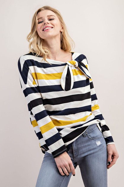 COTTON STRIPE TIE NECK TOP - orangeshine.com