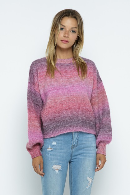 Multi Color Knit Crewneck Sweater - orangeshine.com