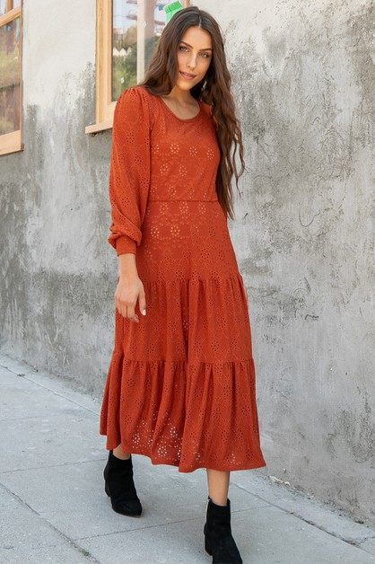 Three Layered Solid Eyelet Maxi Dres - orangeshine.com