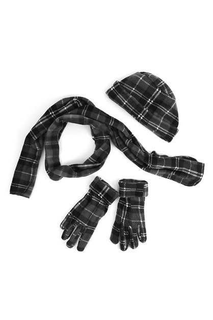 Women Charcoal Plaid Winter Set - orangeshine.com