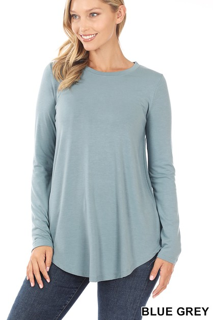 LONG SLEEVE ROUND NECK ROUND HEM TOP - orangeshine.com