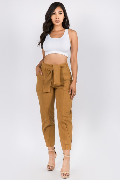 SLEEVE TIE HIGH WIAST COLOR PANTS - orangeshine.com
