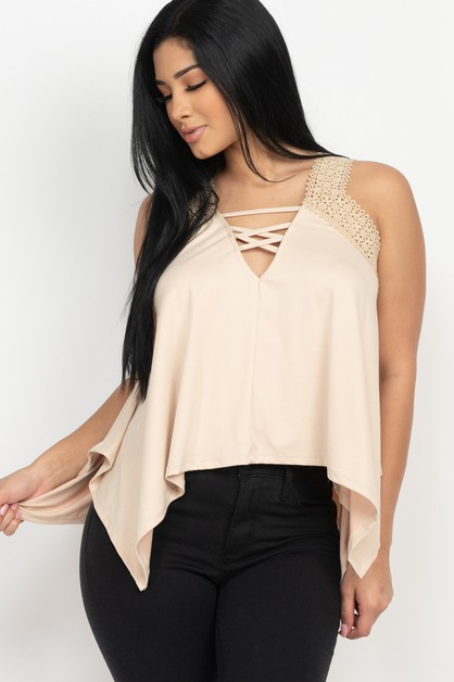 Criss-cross V neck Sleeveless Top - orangeshine.com