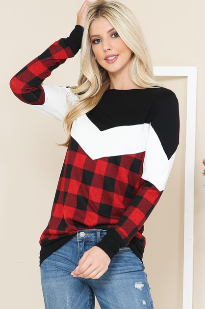 BUFFALO PLAID COLOR BLOCK TUNIC - orangeshine.com