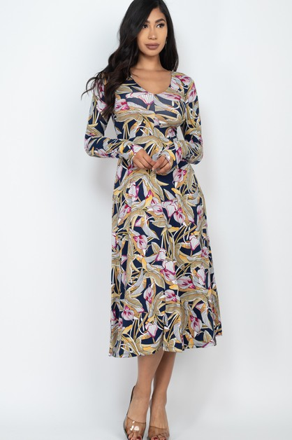 Fit and Flare Printed Maxi Dress - orangeshine.com