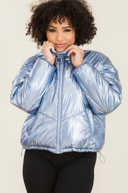 High Neck Zip-Up Puffer Jackets - orangeshine.com
