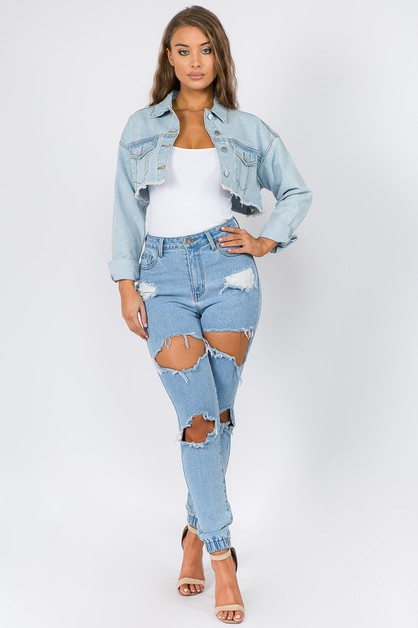 HIGH WAIST DENIM CUT-OUT TRIM JOGGER - orangeshine.com