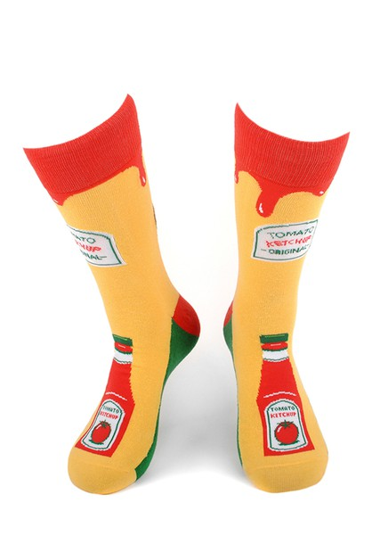 Mens Ketchup Bottle Novelty Socks - orangeshine.com