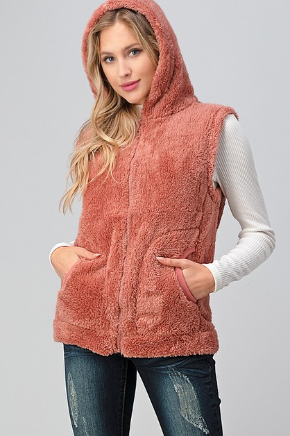 Faux Fur Teddy Zip Up Hoodie Vest - orangeshine.com