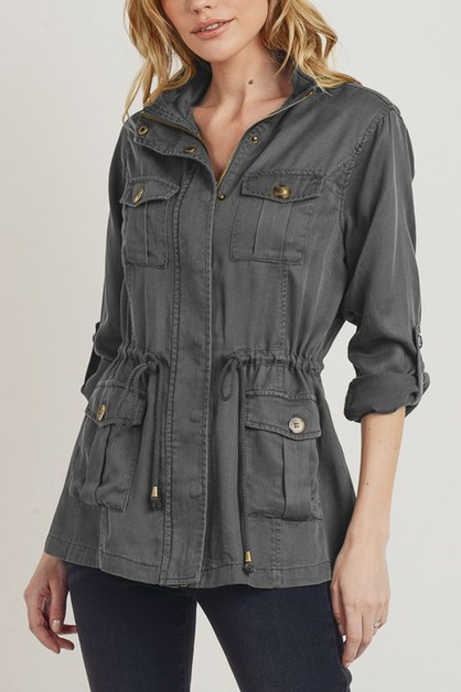 TENCEL JACKET WITH CARGO POCKET - orangeshine.com
