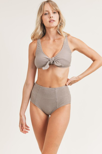 Lurex Ribbed Bow Bikini with Metallic Th - orangeshine.com