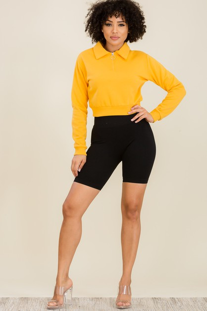 Zipper Long Sleeves Cropped Top - orangeshine.com