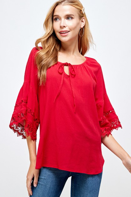 Lace Detailed Bell Sleeve Top - orangeshine.com