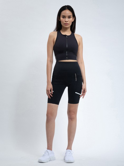 ZIP FRONT SPORTS BRA IN BLACK - orangeshine.com