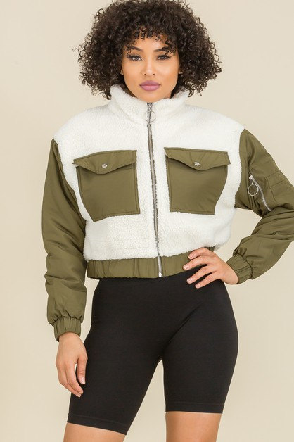 Contrasted Crop Teddy Jackets  - orangeshine.com
