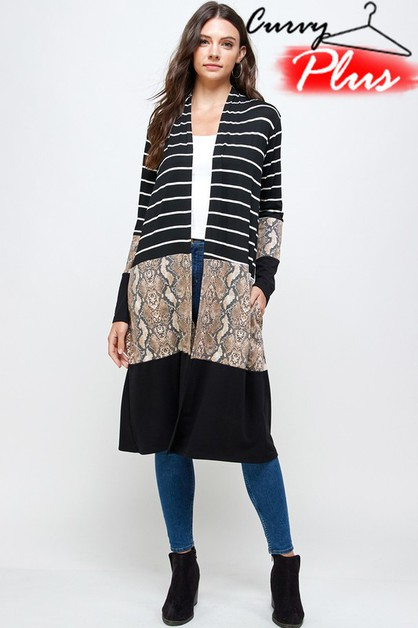 SNAKESKIN PRINT COLOR BLOCK CARDIGAN - orangeshine.com