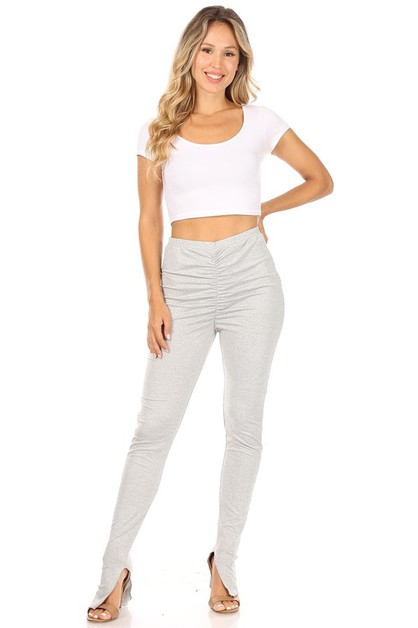 Solid Color Ruched Tight Casual Pant - orangeshine.com